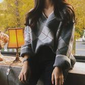 梨卡 - 秋冬氣質甜美純色菱格格紋寬鬆針織毛衣上衣B996