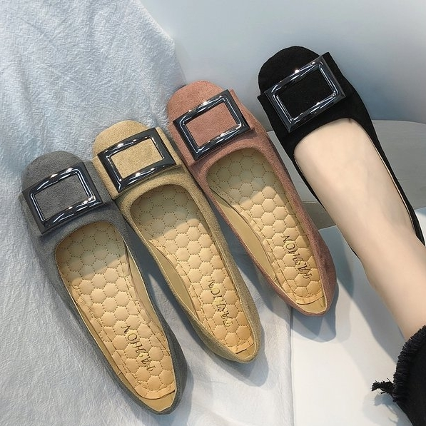 【35-44全尺碼】平底包鞋.氣質優雅方形扣娃娃鞋.白鳥麗子