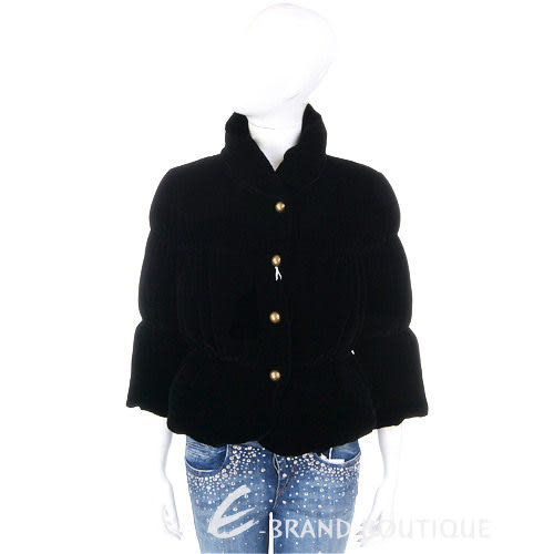 MOSCHINO 黑色絨質金銅釦飾外套 1230466-01