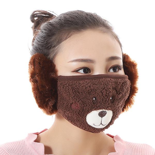 【獨愛3C用品】【買三送一】冬季必備保暖卡通造型小熊絨毛防塵口罩耳罩二合一(編號6/酒窩棕色)