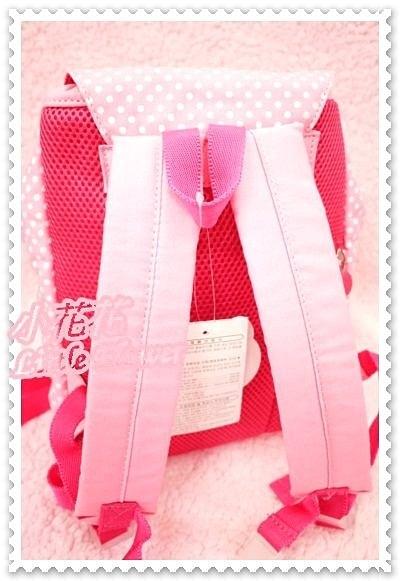 小花花日本精品♥Hello Kitty立體大頭臉水玉點點粉色蝴蝶結可調整式後背包/背包 防走失包