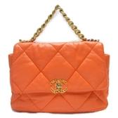 CHANEL 香奈兒 橘色羊皮三色金屬19 超大型口蓋包 Large Flap Bag 【BRAND OFF】