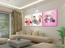 無框畫裝飾畫百年好合畫壁畫客廳臥室畫掛畫兒童房三聯畫