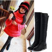 女童冬季公主中大童韓版時尚過膝保暖高筒靴xx9673【Pink中大尺碼】