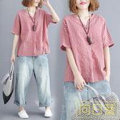 大碼女裝夏胖mm寬鬆棉麻條紋襯衣百搭V領適合胖女人穿的襯衫上衣