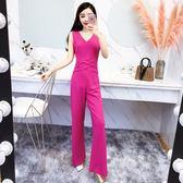 2018夏季新款韓版女裝時尚無袖V領高腰顯瘦直筒闊腿連體褲長褲女