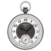TISSOT 天梭 小秒針無蓋式機械懷錶 附鍊-銀x黑/45mm T8604052903200