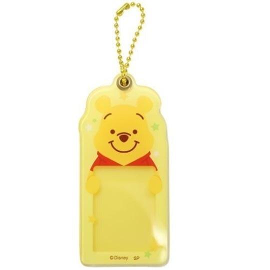 小禮堂 迪士尼 小熊維尼 造型壓克力相片吊飾 相框鑰匙圈 相片吊飾 (黃紅 大臉) 4548626-12698