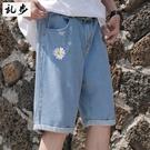 短褲/五分褲 亂步夏季新品短款淺色牛仔褲男小雛菊刺繡五分褲寬鬆潮流直筒短褲