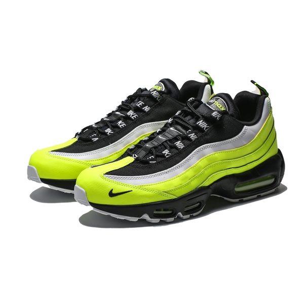 Nike Air Max 95 黑白 螢光黃 全氣墊 運動 慢跑鞋 男 (布魯克林) 538416-701