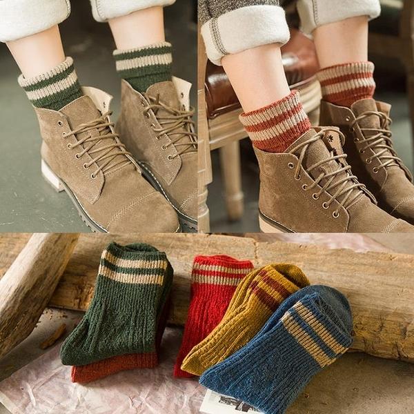 [協貿國際]秋冬復古粗毛線襪子加厚保暖翻邊羊毛襪中筒堆堆短靴襪1入