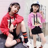 女童秋裝上衣 新款時髦兒童裝韓潮套頭連帽T恤中大童寬鬆衣服 QG7897『優童屋』