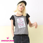 【SHOWCASE】造型荷葉雪紡袖 橫條縮擺跟鞋上衣(黑)