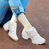 廣場舞鞋水兵中高跟爵士冬季舞蹈鞋女成人廣場舞跳舞女鞋網面白色