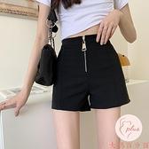 西裝褲高腰短褲女顯瘦百搭黑色小個子短褲【大碼百分百】