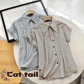《貓尾巴》BS-02953 裝飾領結條紋短袖襯衫(森林系 日系 棉麻 文青 清新)