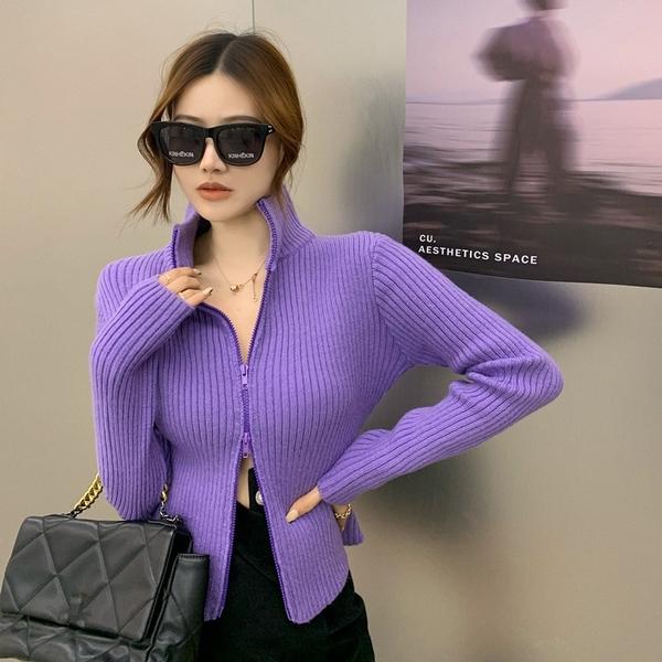 針織開衫 高領毛衣女秋冬雙頭拉鏈針織衫外穿短款顯瘦打底衫上衣