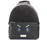 【FENDI】黑色faces表情圖案皮革+尼龍bag bugs Backp  7VZ012