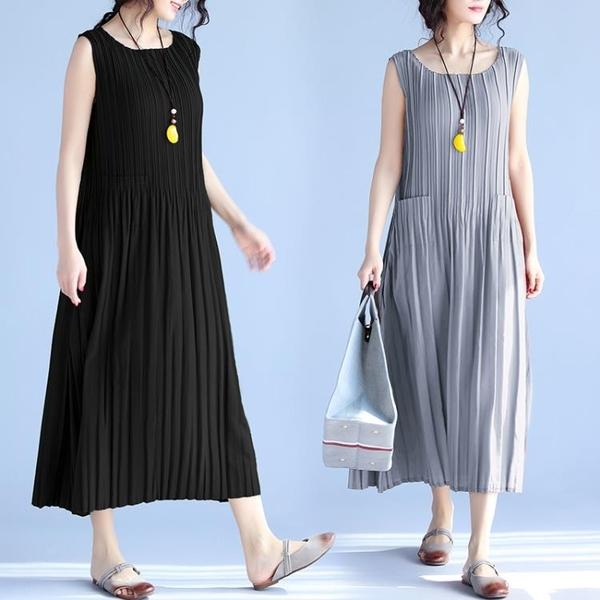 中大尺碼 無袖洋裝 2021夏季新品大碼女裝寬鬆顯瘦中長款無袖純色連身裙胖mm文藝復古