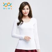 【WIWI】MIT溫灸刷毛圓領發熱衣(純淨白 女S-2XL)