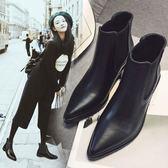 秋切爾西靴短靴短百搭筒單靴女靴子尖頭粗跟裸靴女鞋子潮 優家小鋪