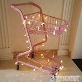 粉色少女心雙層超市購物車商場手推車拍照道具網紅寵物店裝飾擺件 DF 交換禮物