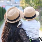 親子款母子母女草帽夏季遮陽帽子男童女童禮帽兒童太陽帽爵士帽潮『新佰數位屋』