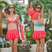 條紋運動風  鋼圈泳衣+百褶裙+連帽上衣 四件式 比基尼  橘魔法 magic G 現貨 泳裝 顯瘦