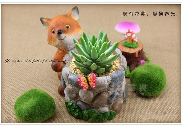 [可愛狐狸空花器] 進口多肉仙人掌組合花器 ☆插花.居家.店面.櫥窗.玄關擺飾.園藝☆