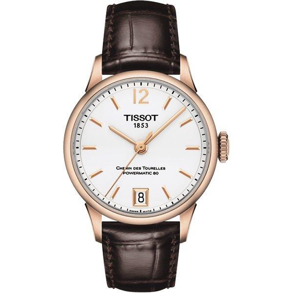 TISSOT 天梭 杜魯爾系列機械動力80女錶/手錶-白x玫瑰金框/32mm T0992073603700