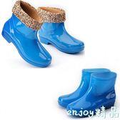 秋冬季保暖雨鞋女士中筒雨靴四季防滑防水塑膠鞋棉鞋短筒絨棉水鞋