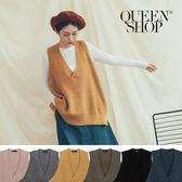 Queen Shop【01012371】V領坑條針織背心 六色售*現+預*