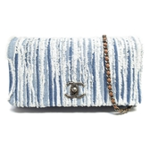 CHANEL 香奈兒 藍白牛仔帆布斜背包Denim Fringe Single Flap Bag【BRAND OFF】