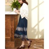 CANTWO時尚內拼接撞色蕾絲長裙-共兩色
