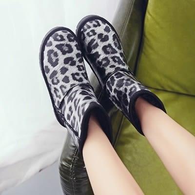 中筒雪靴-時尚潮流豹紋保暖女厚底靴子4色73kg62[巴黎精品]