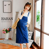 【HC5062】配色車線口袋彈力牛仔吊帶裙