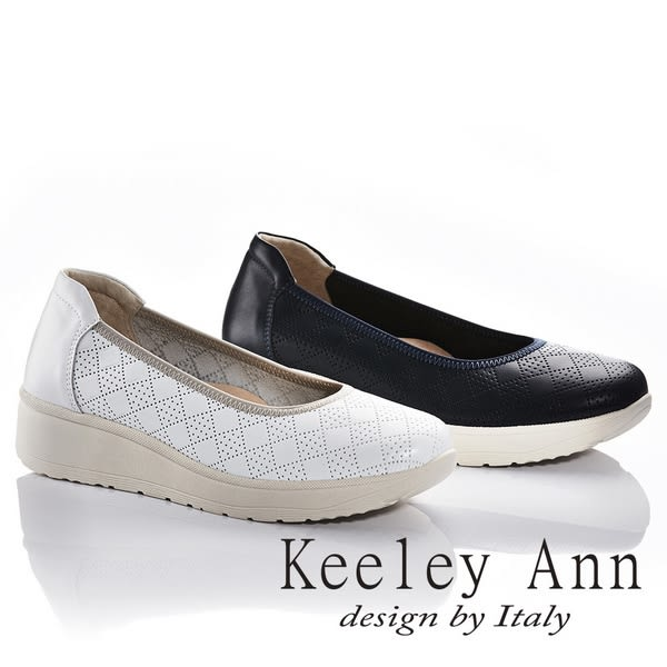 ★2018春夏★Keeley Ann旅行輕便~透氣方格狀全真皮厚底娃娃鞋(白色)