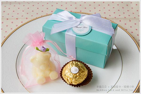 Double Love Tiffany盒「泰迪熊香皂+金莎」二入禮盒.甜蜜佈置.結婚婚禮小物.禮品