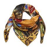 HERMES 民族領袖圖騰真絲方型披肩圍巾(土金色)179144