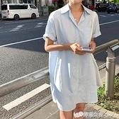 夏裝新款韓版ins潮寬松百搭襯衫裙氣質純色小個子洋裝女 檸檬衣舍