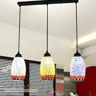 設計師美術精品館歐式田園地中海馬賽克三頭吊燈餐廳吧臺臥室咖啡廳燈飾燈具6108-3