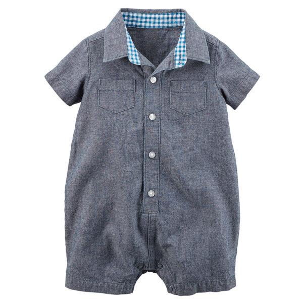 【美國Carter's】純棉連身衣- 丹寧POLO款短袖純棉連身裝 118G318