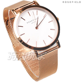 ROSEFIELD 歐風美學 時尚簡約 圓形 米蘭帶 不銹鋼 女錶 防水手錶 玫瑰金x白 MWR-M42