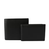 【COACH】素面全皮對開短夾(附證件夾)(黑色)F74991 BLK