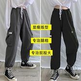 工裝褲女顯瘦高腰褲子大碼闊腿褲純棉褲【時尚大衣櫥】