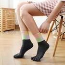 五指襪襪子女純棉透氣五指襪秋季中筒厚款分趾襪防臭成人冬季長筒5趾襪 快速出貨