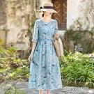 棉麻中袖田園碎花連衣裙女春夏2021年新款洋氣減齡顯瘦亞麻長裙快速出貨