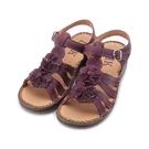 DMK 牛皮縫線休閒涼鞋 紫 女鞋