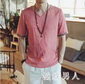 棉麻上衣超輕薄夏季中國風大碼V領短袖T恤男簡約休閒仿亞麻半袖 JY5704【極致男人】