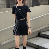 秋夏港風黑色a字高腰百褶裙女 韓版學生chic小短裙超火的半身裙褲 阿卡娜
